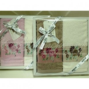 Набор салфеток махровый с вышивкой и кружевом FIORE (2 шт) фото