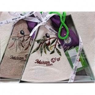 Набор махровый NEW OLIVE (полотенце круглое, т. мыло, лепестки лаванды) фото