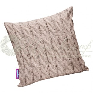 Подушка «Вязаные косички» бежевый фото