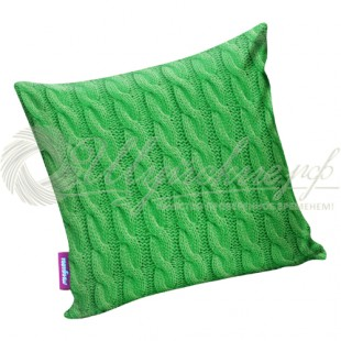Подушка «Вязаные косички» зеленый фото