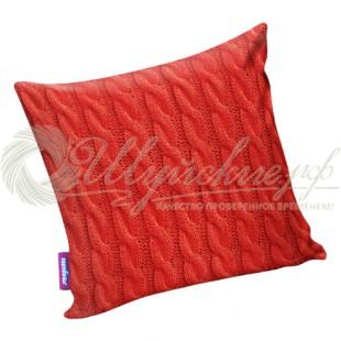 Подушка «Вязаные косички» красный фото