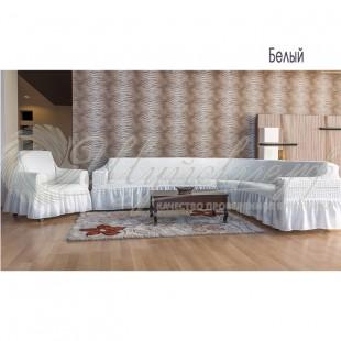 Чехол на угловой диван + кресло Венера, белый фото
