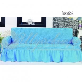 Чехол на трёхместный диван Венера голубой фото