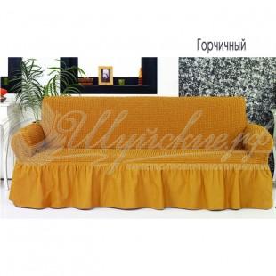 Чехол на трёхместный диван Венера горчичный фото