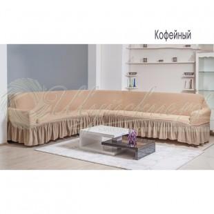 Чехол на угловой диван Венера, кофейный фото