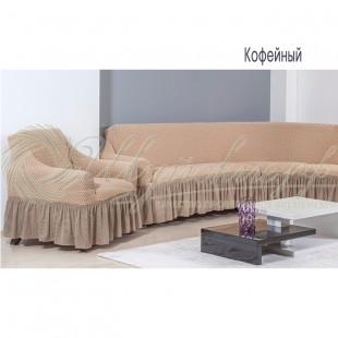 Чехол на угловой диван + кресло Венера, кофейный фото