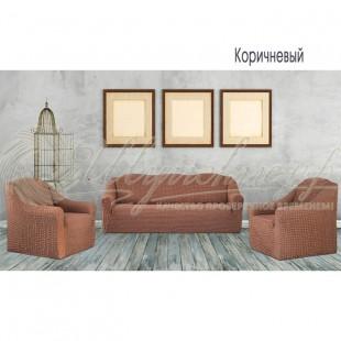 Чехол на трёхместный диван и 2 кресла Венера, коричневый фото