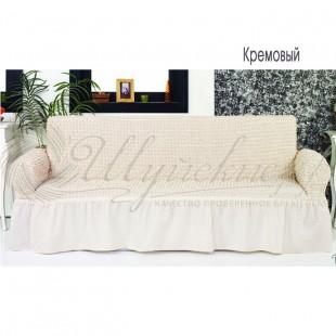 Чехол на трёхместный диван Венера кремовый фото