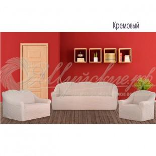 Чехол на трёхместный диван и 2 кресла Венера, кремовый фото