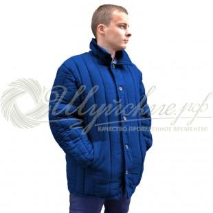 Куртка ватная диагональ 48-50(182-188) синяя фото