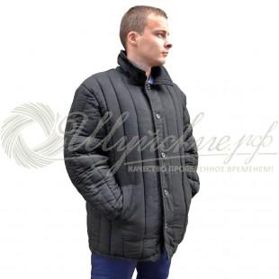 Куртка ватная диагональ 68-70(170-176) черная фото