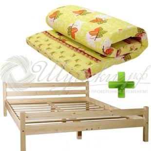 Деревянная двуспальная кровать с матрасом 160х200 см фото