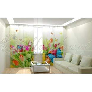 Фотошторы Бабочки на цветах фото