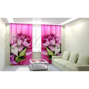 Фотошторы Букеты розовых тюлпанов фото