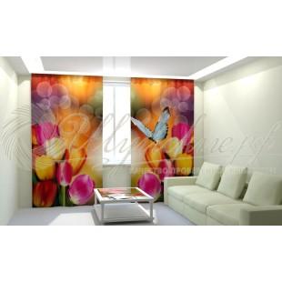 Фотошторы Тюльпаны с бабочкой фото