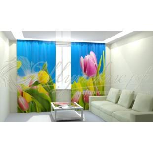 Фотошторы Желтые тюльпаны фото