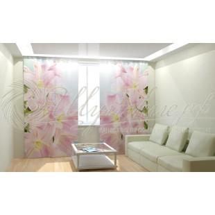 Фотошторы Розовые лилии фото