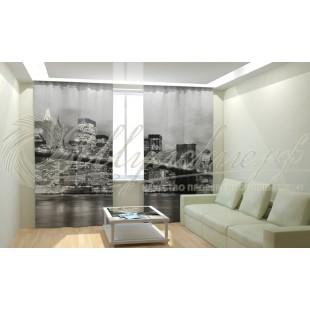 Фотошторы Бруклинский мост черно-белый фото