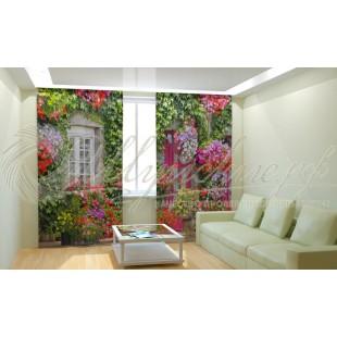 Фотошторы Дом в цветах фото