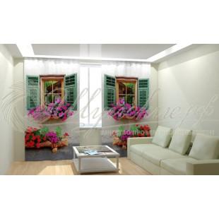 Фотошторы Окно с цветами фото