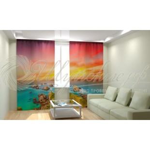 Фотошторы Закат солнца на море фото