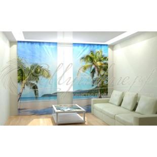 Фотошторы Солнечные пальмы на берегу фото