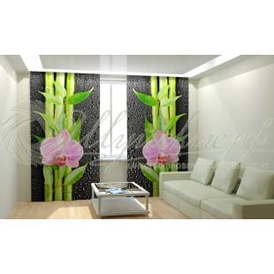 Фотошторы Орхидея и бамбук фото