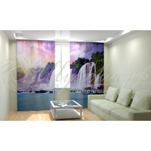 Фотошторы Закат у водопада фото