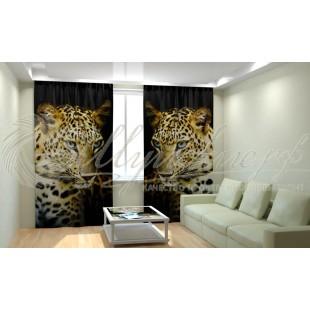 Фотошторы Леопард на черном фото
